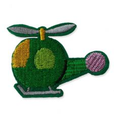 GREEN HELICOPTER MOTIF IRON ON EMBROIDERED PATCH APPLIQUE